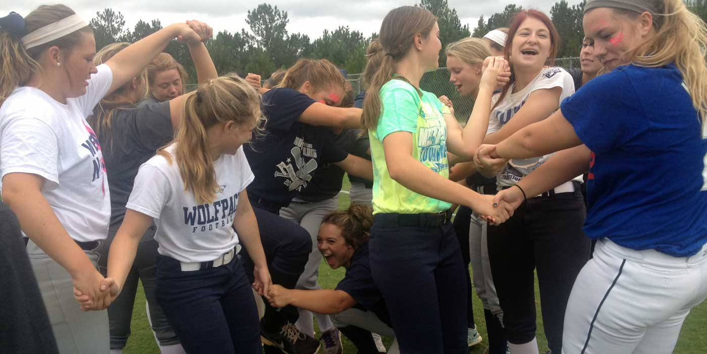 Team bonding at North Paulding High School Softball. 2015